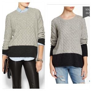 Vince Colorblock Cable Knit Crew Neck Sweater